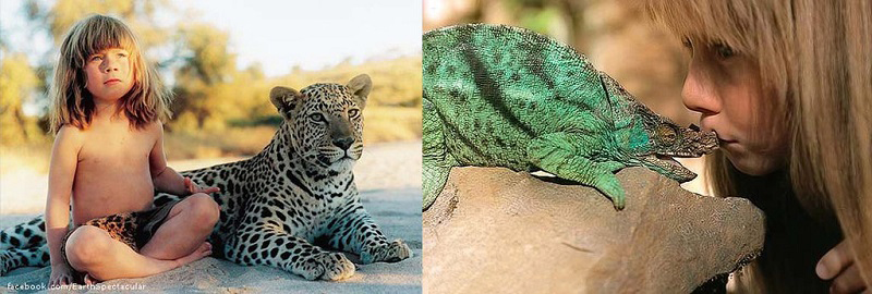 Типпи Дегре и леопард. Девочка-Маугли в Африке. Фото