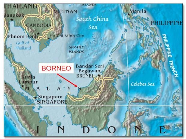 Остров Калимантан на карте. Фото