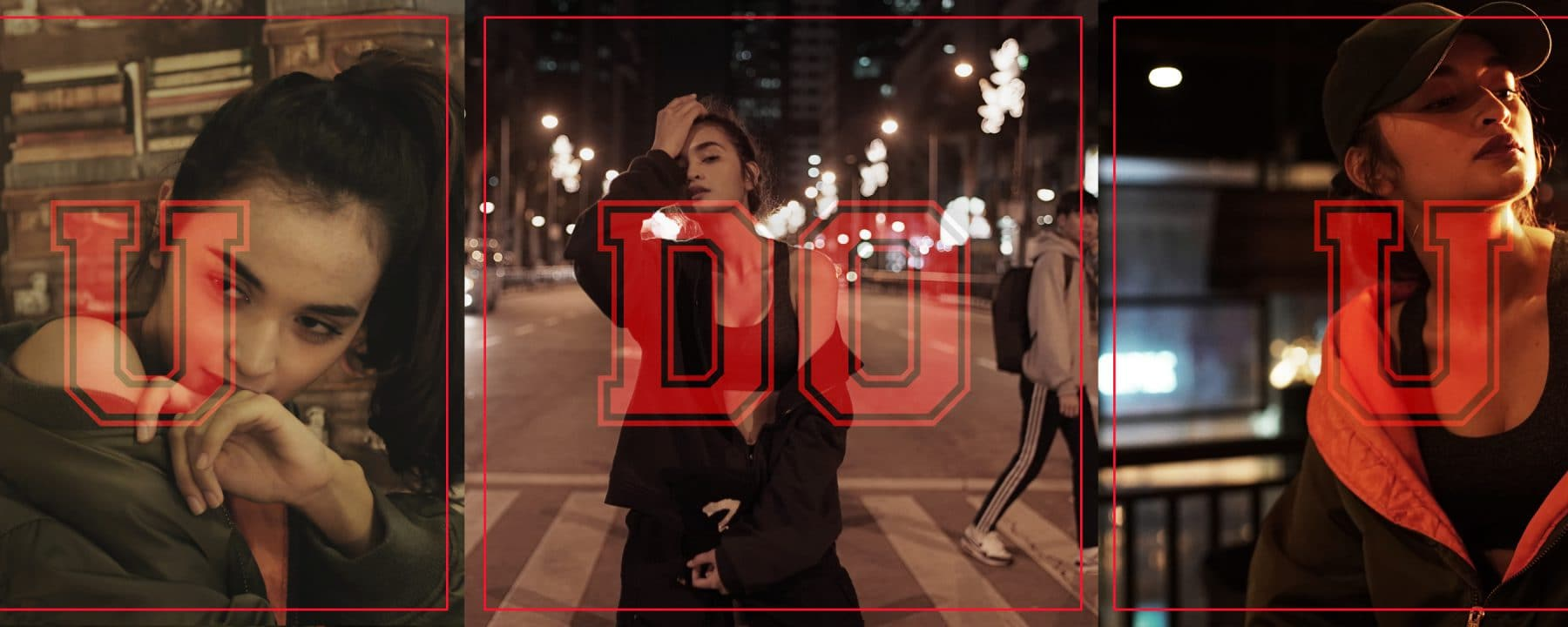 Red poster for the UDOU header
