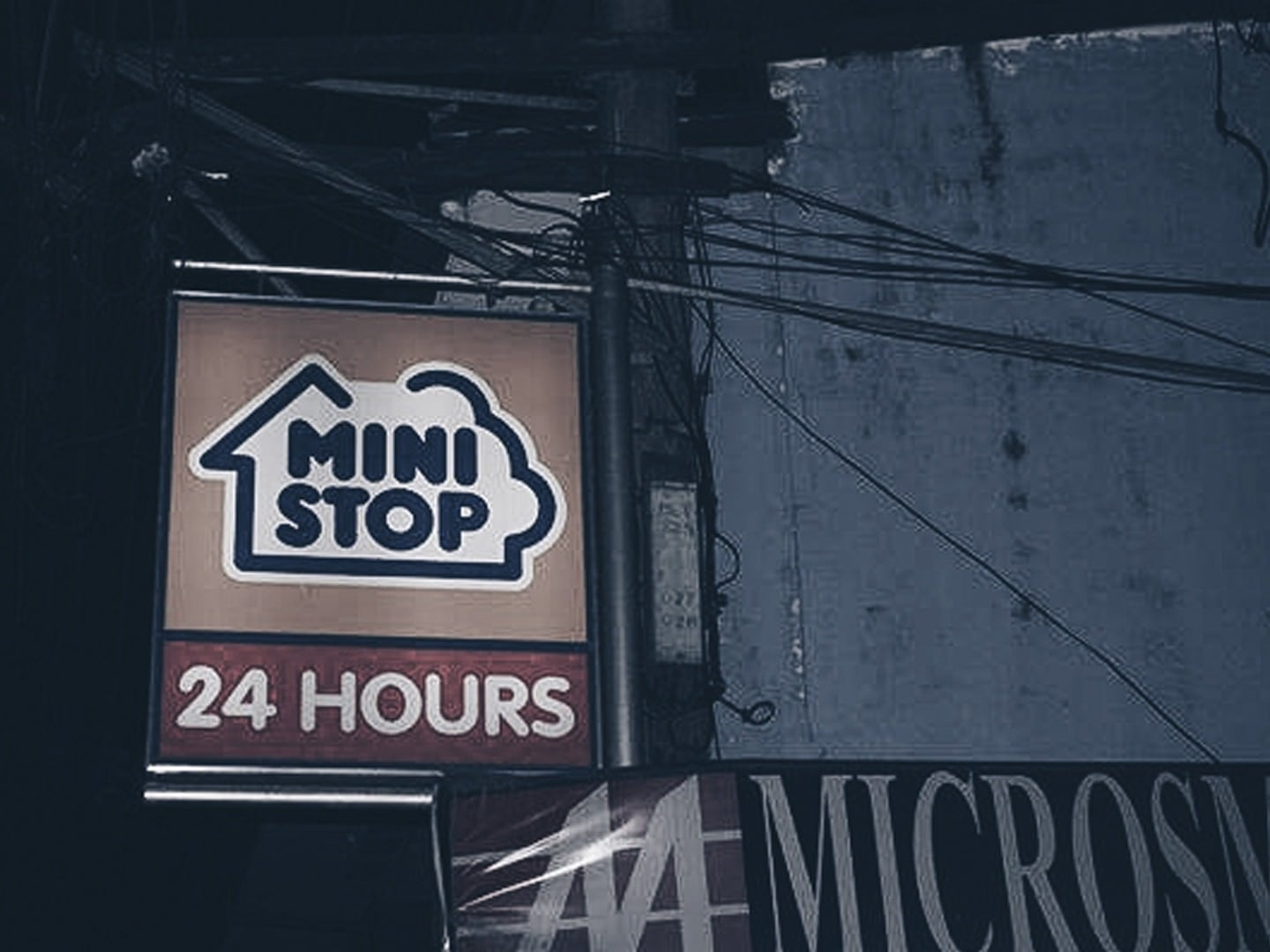 The signage for Ministop sda says 24 hours