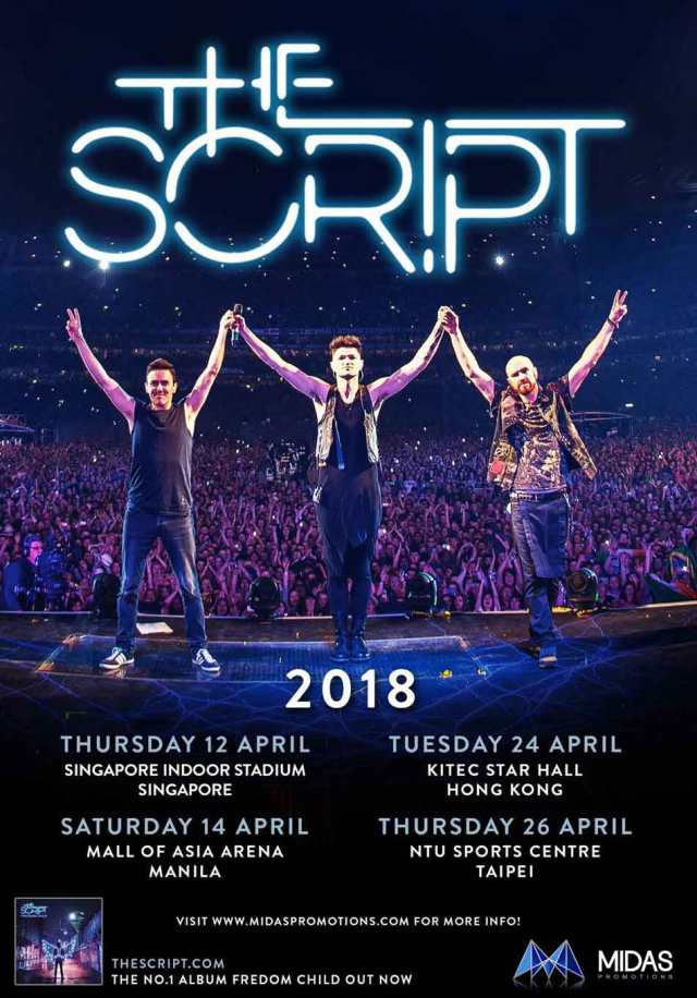 The Script band members holding hands for Manila 2018