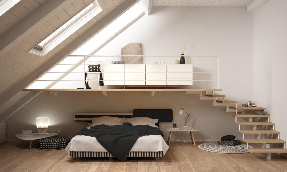 Loft mezzanine scandinavian minimalist bedroom, white classic interior design