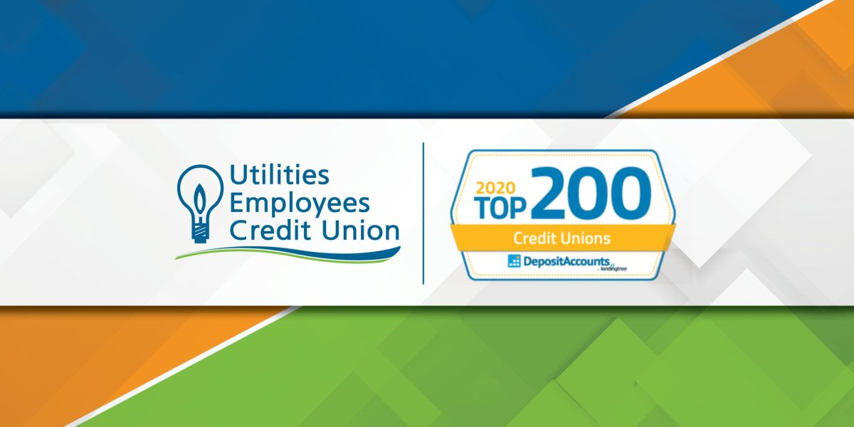 Logos showing that UECU is in the DepositAccounts Top 200 Credit Unions of 2020