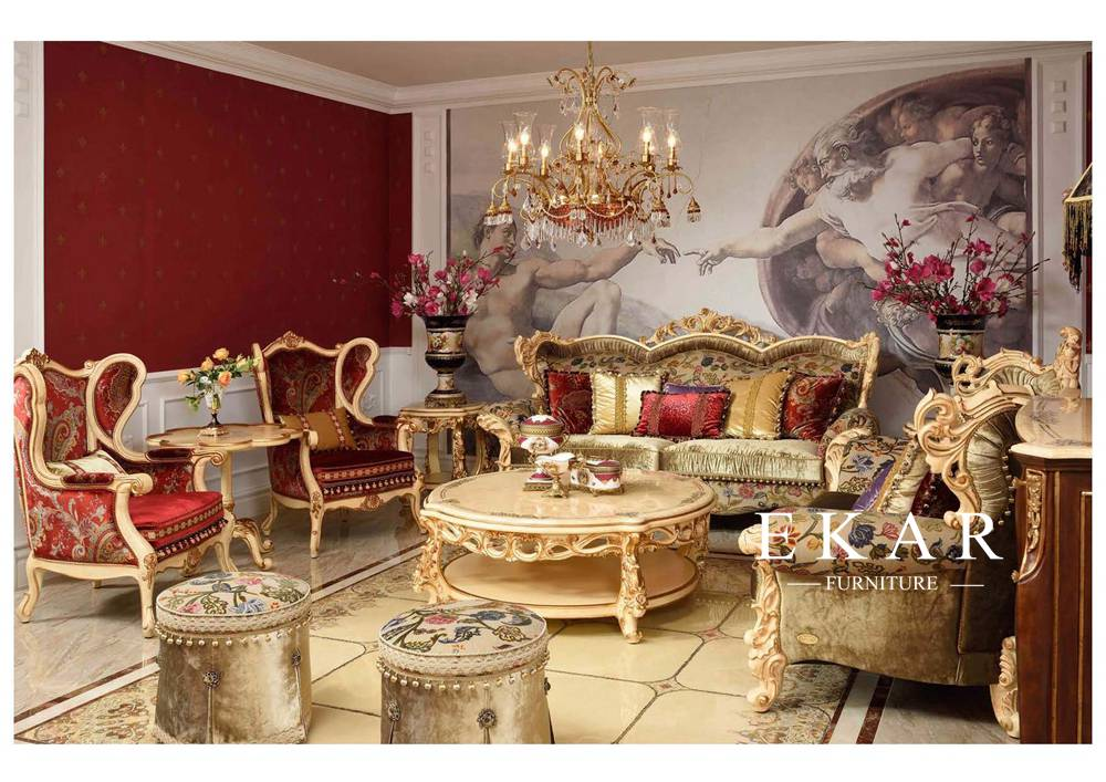 French High End Exquisite Design Living Room Furniture Sofa Sets