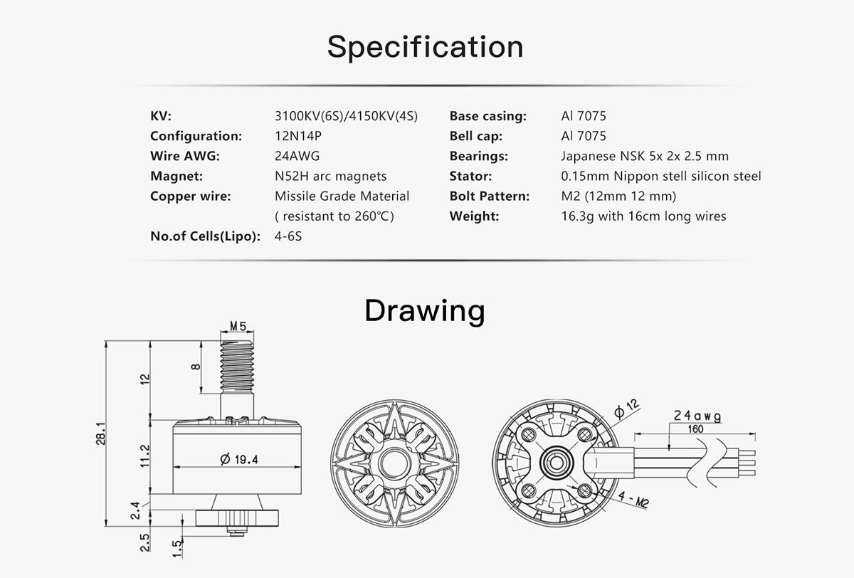 BrotherHobby VY 1507 Brushless Motor (3100Kv, 4150Kv) 3-6S