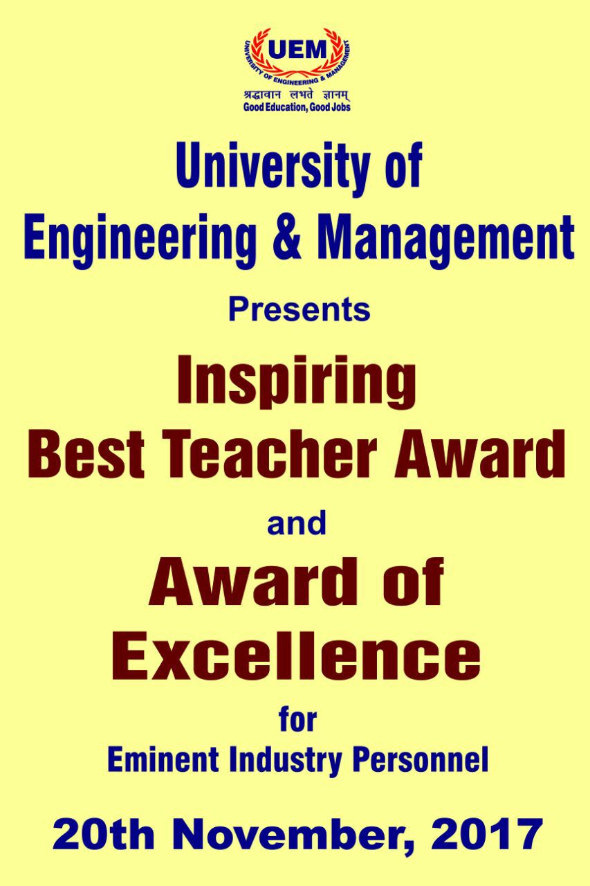 Iem uem group welcome iem uem group uem presents inspiring best teacher award and award of excellence for eminent industry personnel xflitez Image collections