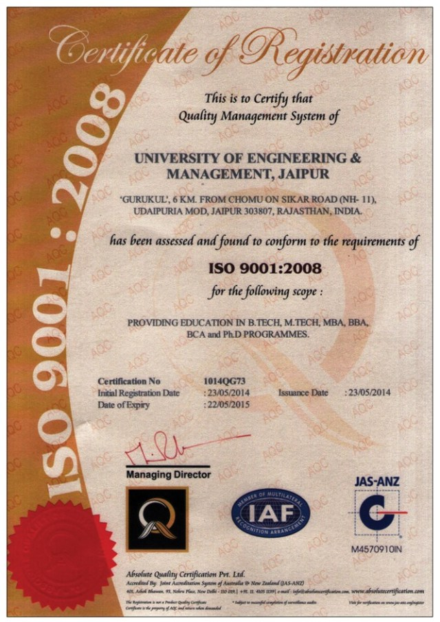 ISO 9001 : 2008 Certification