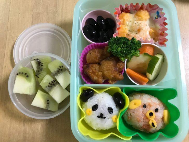 くるりんの今日のお弁当 2017.07.20. 「パンダおにぎり」と「ワンコおにぎり」