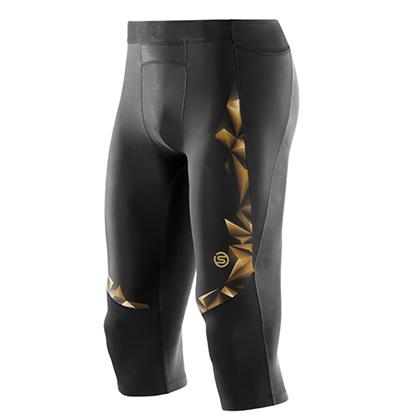 SKINS思金斯 梯度壓縮 A400 男款運動緊身七分褲 黑金色 ZB99320209156(肌肉支撐,減少酸痛)-壓縮衣緊身衣-優個網