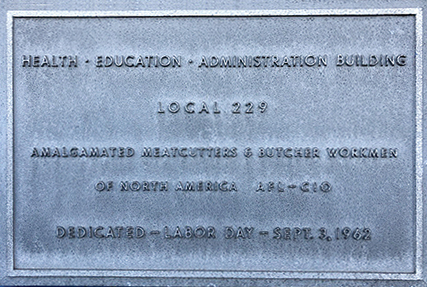 Local 229 building plaque