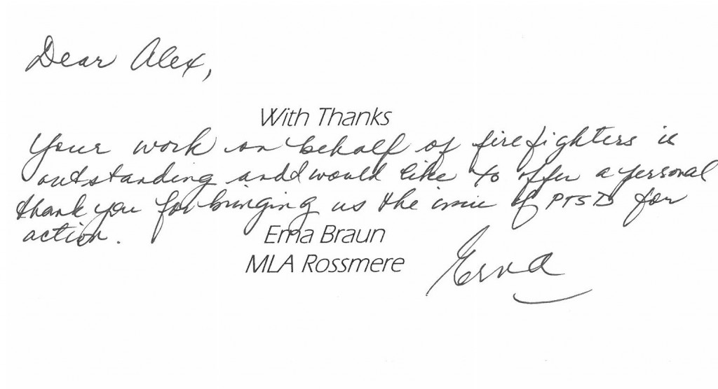 A Thank You To Alex Forrest From Erna Braun, Minister of
