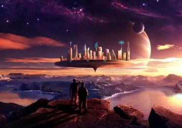 flying city on alien planet