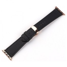 Mobest Epsom Series Calf Leather with Butterfly Clasp Apple Watch Band 42mm-Black