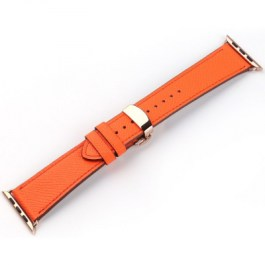 Mobest Epsom Series Calf Leather with Butterfly Clasp Apple Watch Band 38mm-Orange