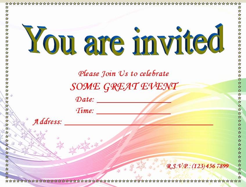 Party Invitations Templates Microsoft Word Elegant Blank
