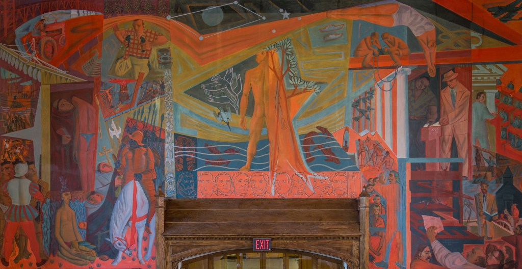 "Photograph of ""History of Learning"" mural after conservation treatment"