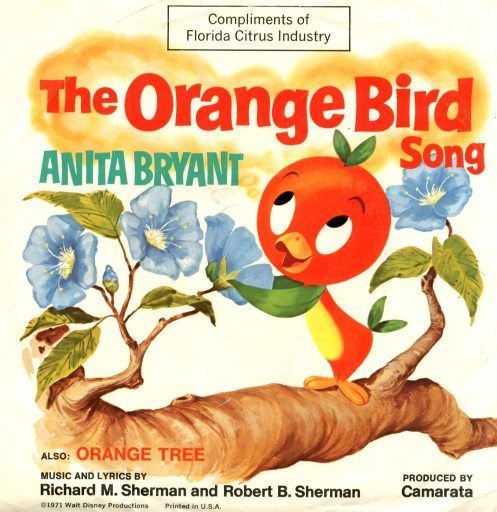 """45 RPM record sleeve for """"The Orange Bird Song"""" featuring The Orange Bird standing on a tree branch with blue leaves. It also features Anita Bryant's name"""