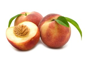 slice peach on white background