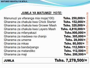chicken management swahili 015 - Ufugaji wa kuku: namna ya kuanza na mchanganuo wa mapato na matumizi