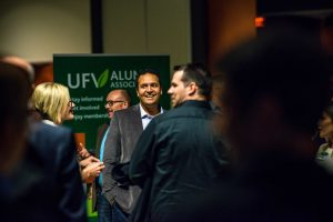 UFV students discussing industry trends at an event
