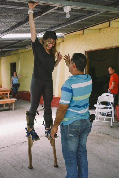 Resident naturalist Denver practices her skills on the stilts at el Día de San Luis on Sunday, June 19, 2016. (Photo/Rachel E. Eubanks, www.rachel-eubanks.com)