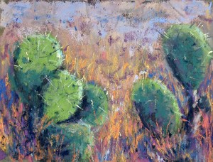 Lunchtime sketch of prickly pear cactus. Pastel on reclaimed Wallis paper