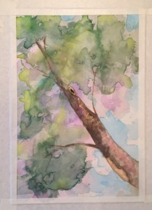 Tree at sunrise watercolor on paper