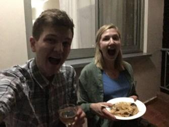 Glada pga vin och pasta