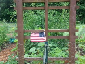 A display of patriotism at the Woodstock Community Garden.