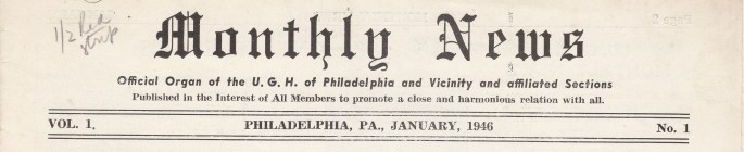 """Monthly News"" Vol. 1 No. 1 1946"