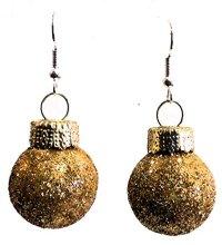 Gold Glitter Ball Christmas Ornament Dangle Pierced ...