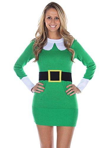 Womens Ugly Christmas Sweater Elf Sweater Dress Green