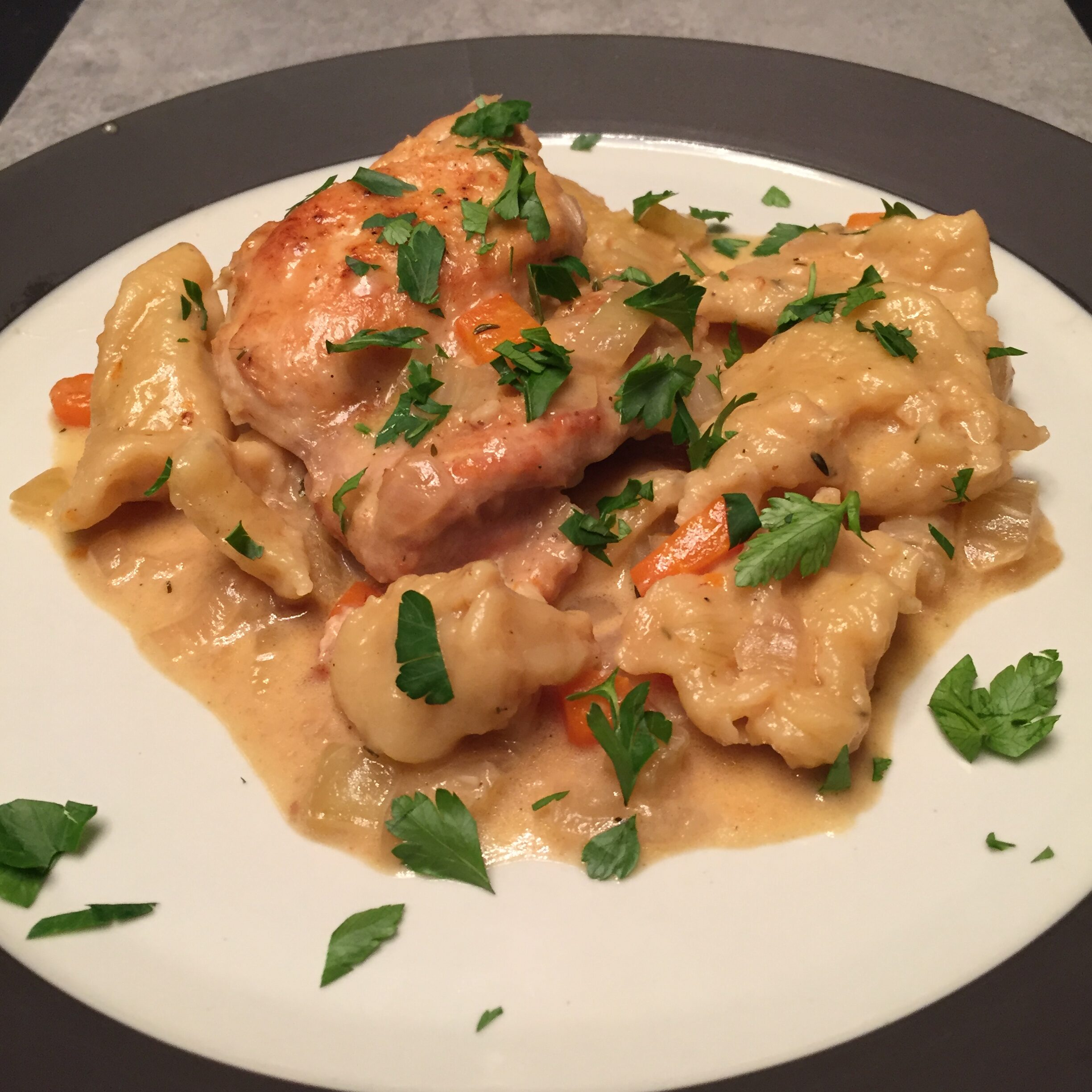 Chicken and dumplings? Chicken and pastry?