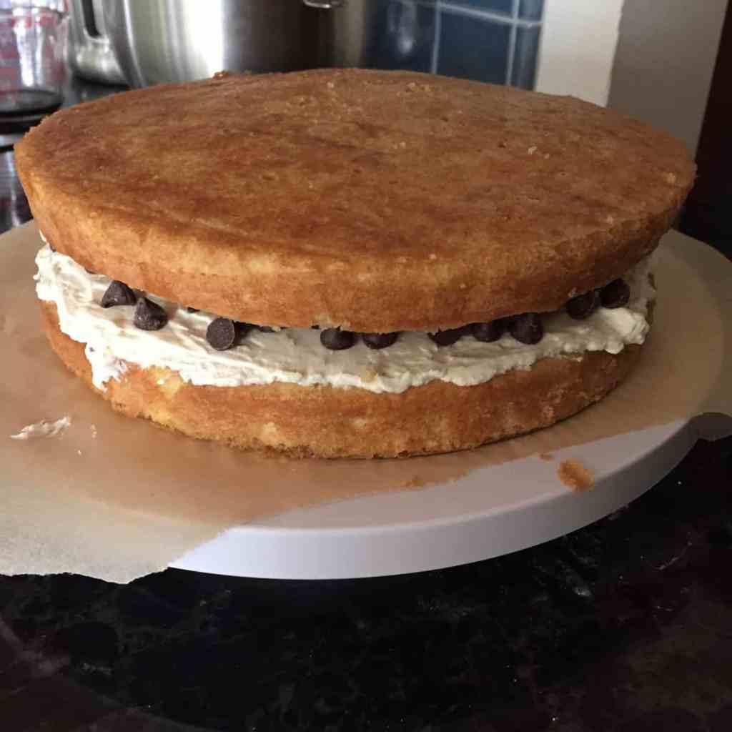 the sandwiched layers of the tiramisu cake