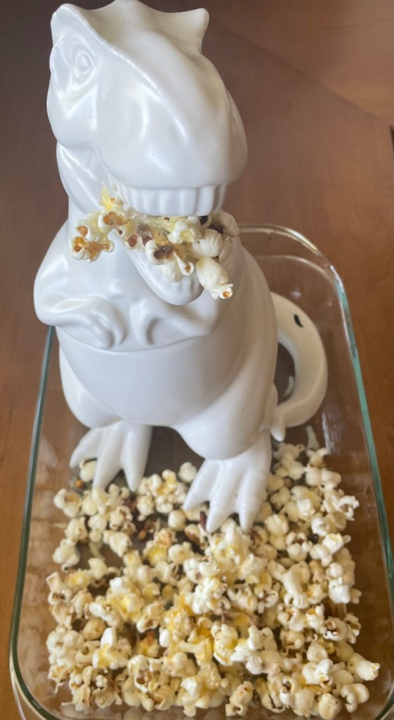 Sue the T rex cookie jar eating bacon cheddar popcorn