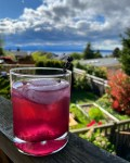 a picture of a lavender and blueberry gin and tonic on a railing overlooking a back yard
