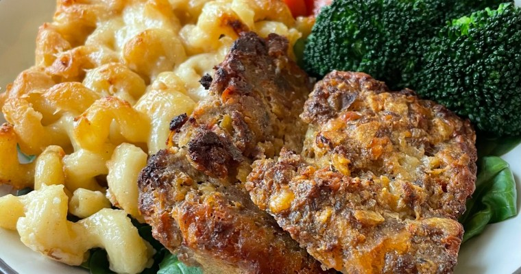 How to make a taco meatloaf bowl with macaroni and cheese, and braised carrots.