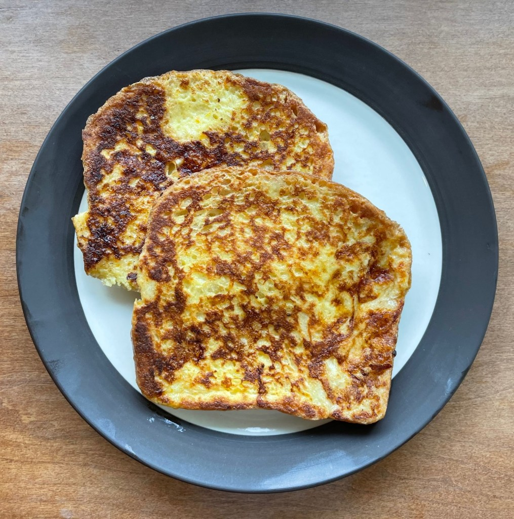 two pieces of French toast on a plate
