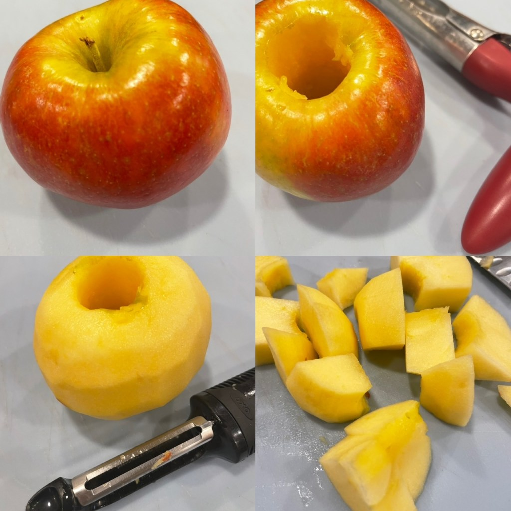 A series of four pictures showing a whole apple, cored apple, peeled apple, and apple chunks