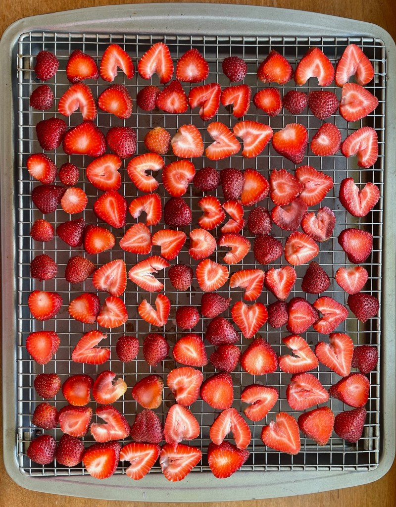 a tray of sliced strawberries on a dehydrating rack