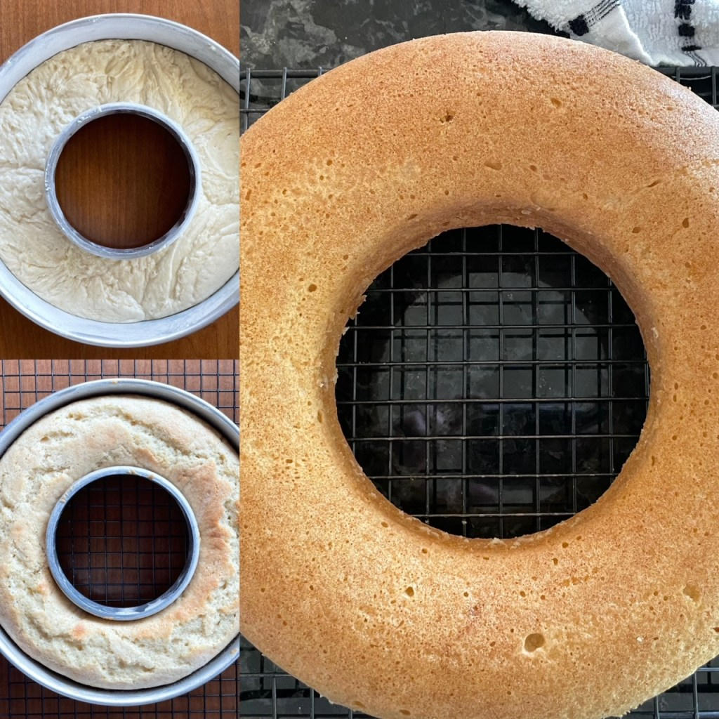 a series of three pictures of the maple donut cake in process from the batter in the pan to the baked cake in the pan to the cake out of the pan