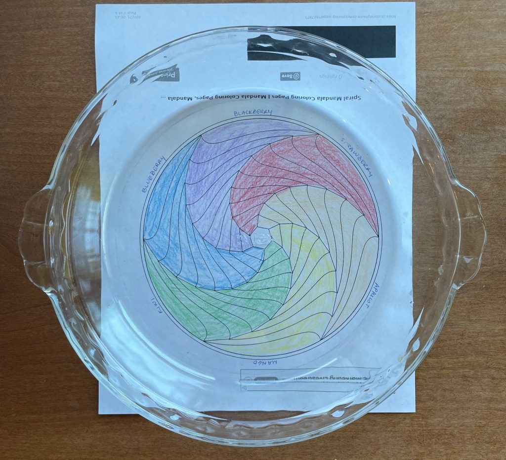 A glass pie pan laid over a coloring sheet with a drawing of the colors of the rainbow fruit tart