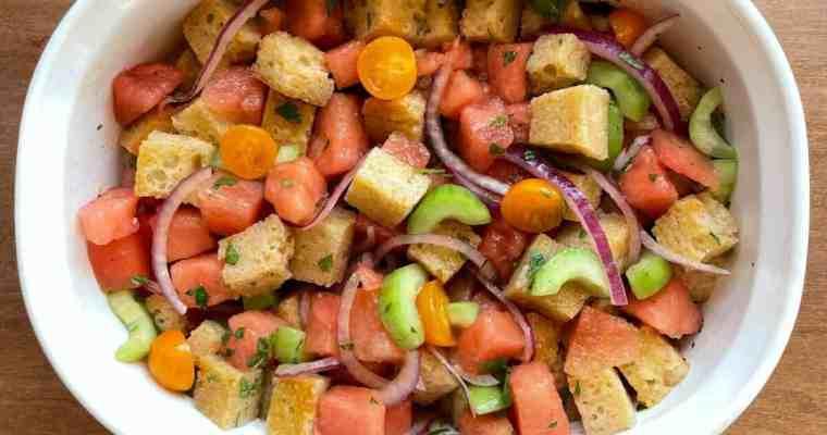 Watermelon Panzanella with Sourdough Croutons