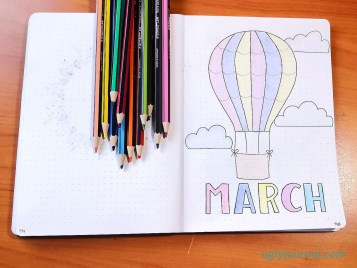 March bullet journal theme hot air balloon