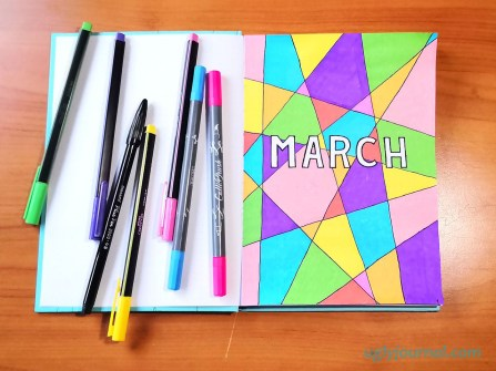 March bullet journal theme colorful