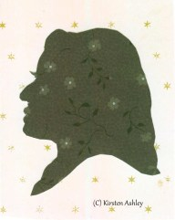 Jess, silhouette portrait on contrasting floral paper.