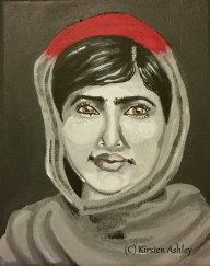 "Malala, acrylic on 8x10"" canvas."