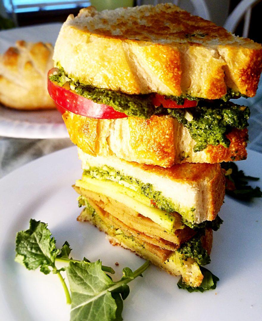Vegan Seitan Sandwich with Pesto and Apples