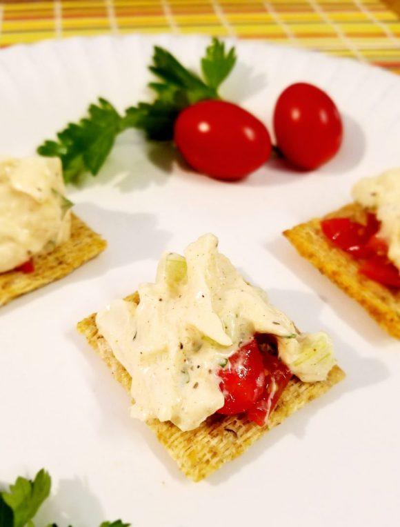 Vegan Hearts of Palm Crab Salad on Crackers