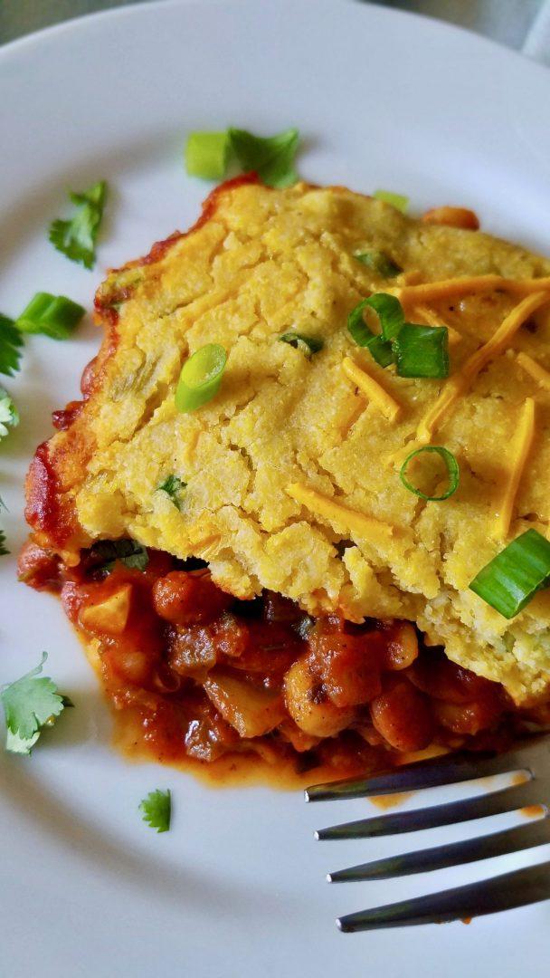 Vegan Chili Cornbread Casserole